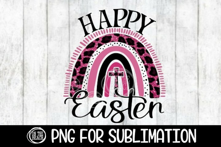 Happy Easter - Pink Leopard - Rainbow - PNG for Sublimation