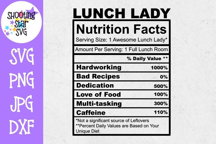 Lunch Lady Nutrition Facts SVG - Lunch Lady SVG - School SVG