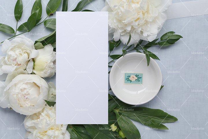 Wedding Stationery Mockup - Menu - Blue Peonies
