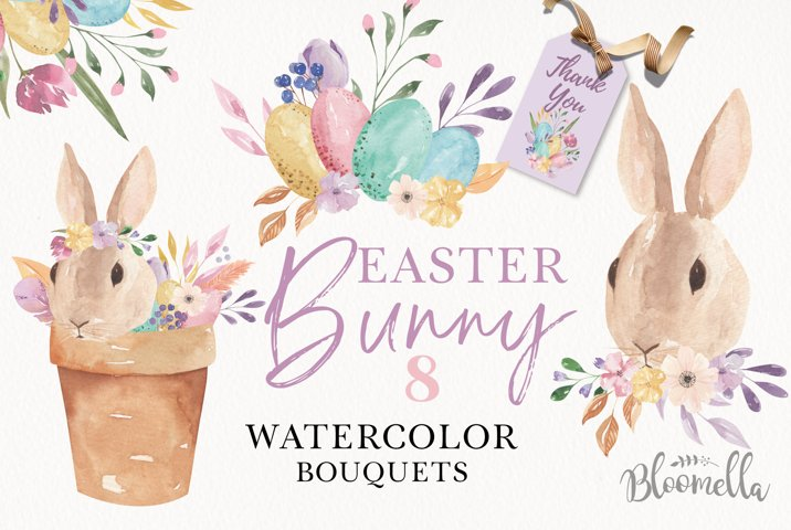 Easter Bunny Watercolor Egg Floral Pastel 8 Bouquets Cute