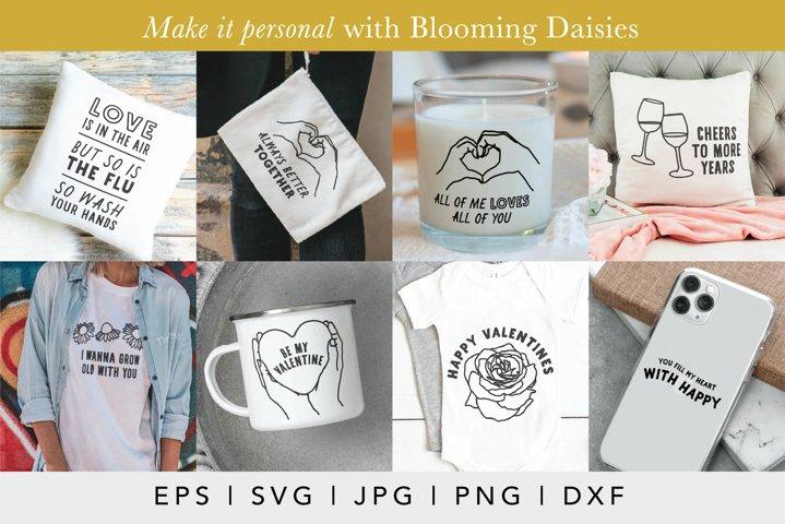 Valentines Day SVG Bundle | Hand drawn love illustrations