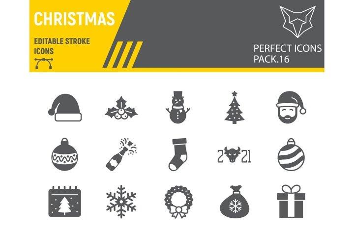 Christmas glyph icon set