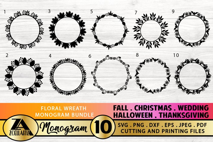 Floral Wreath Monogram SVG Bundle For Cutting and Printing