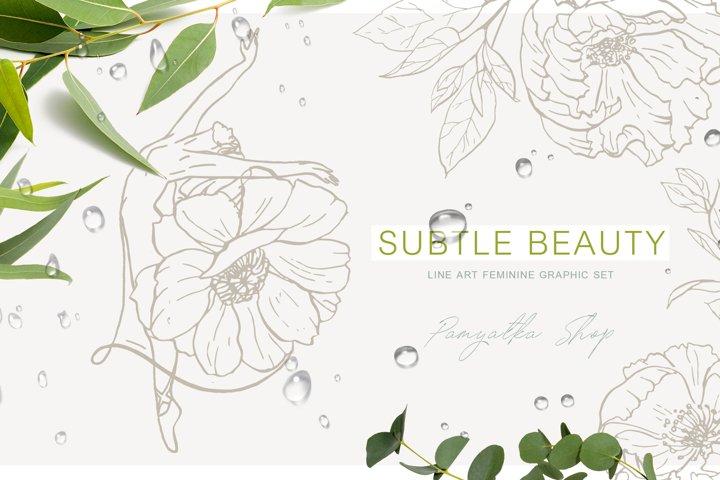 Subtle beauty. Line art floral vector set
