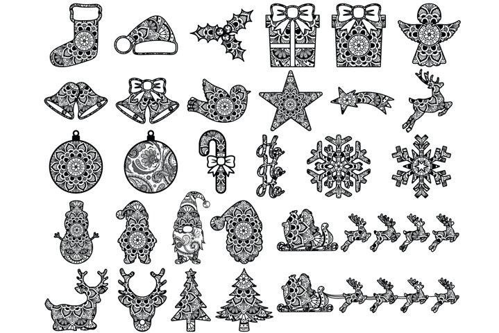 Christmas Mandala SVG Cut Files, Holiday Designs, Winter SVG