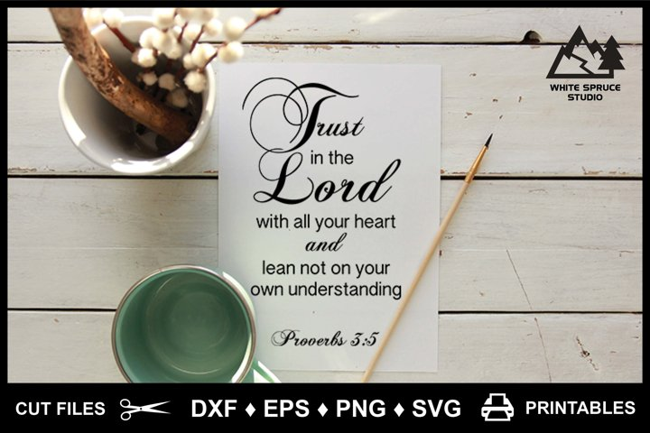 Trust In The Lord With All Your Heart Bible DXF EPS PNG SVG