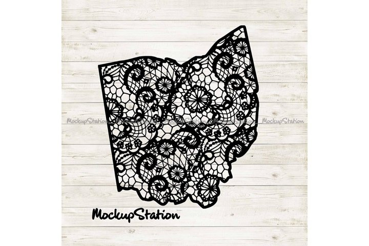 Ohio Mandala SVG | OH Floral Lace PNG Design