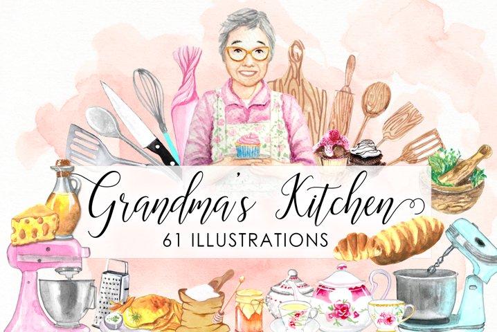 Watercolor Kitchen Utensils Cooking Baking Cake