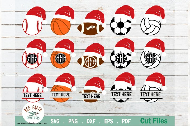 Christmas sports game balls bundle SVG,Santa hat balls SVG