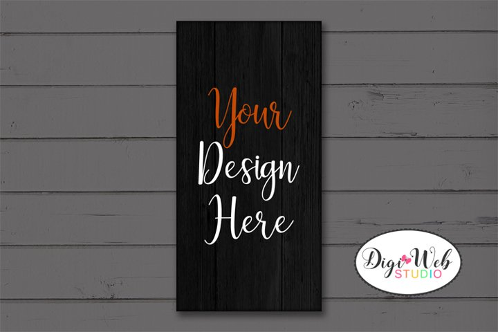 Black Rectangle Wood Sign Mockup - Halloween Country