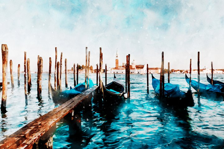 Venice Grand Canal Aquarelle, Beautiful view, watercolor
