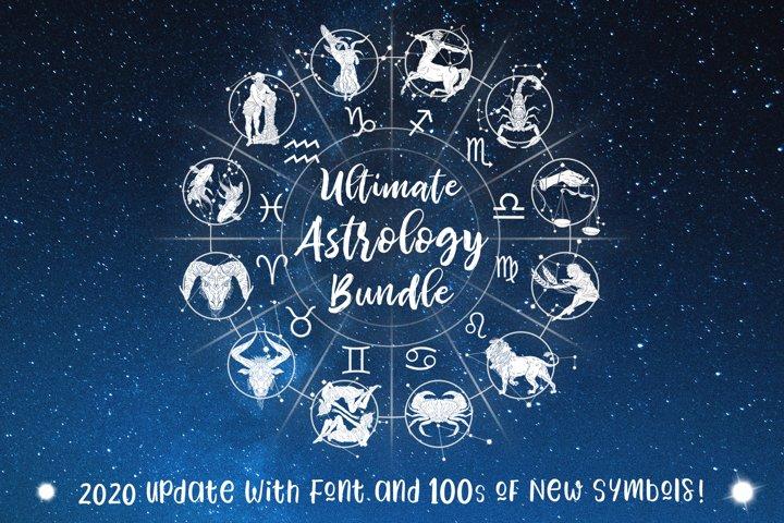 Ultimate Astrology Zodiac Bundle! SVG, PNG, FONT, 350 Files!