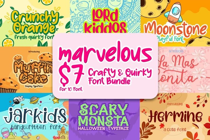 Marvelous Crafty and Quirky Font Bundle