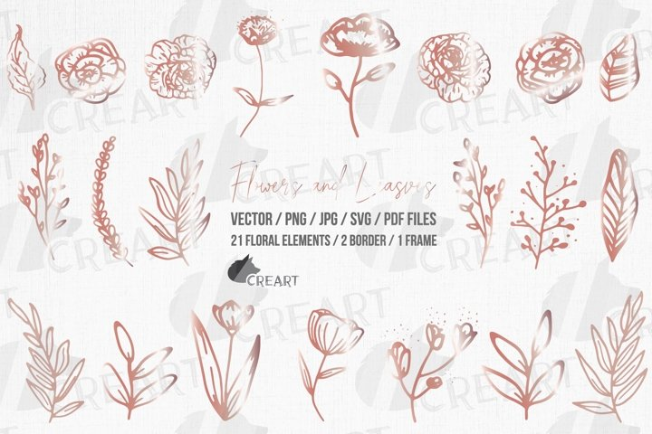 Rose gold flowers and leaves clip art. Floral frame decor.