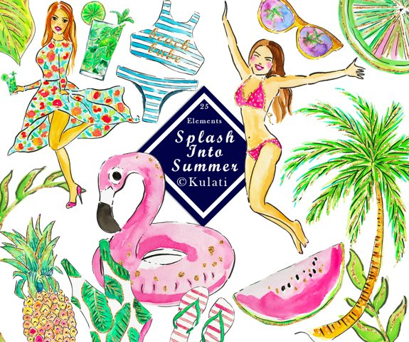 Watercolor Summer Graphics / Clipart