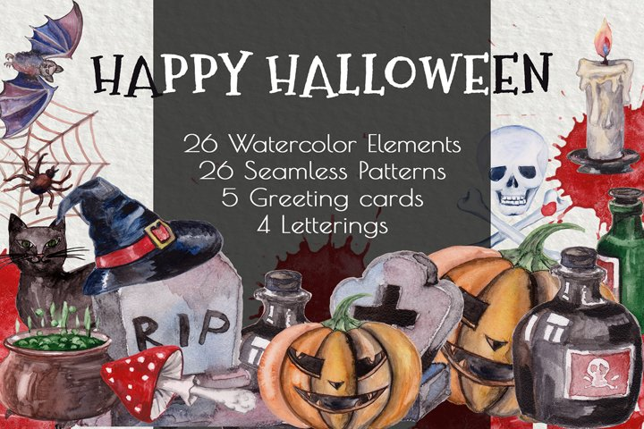 Happy Halloween. Watercolor digital clip art.