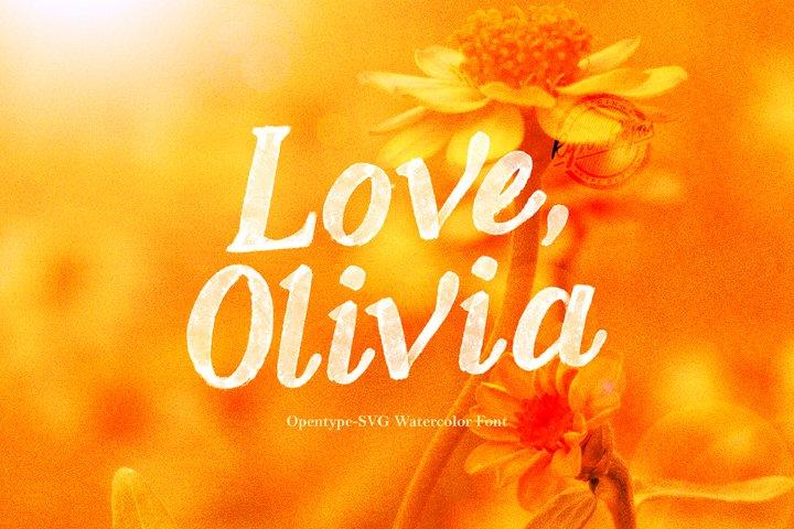 Love, Olivia   Watercolor SVG Font