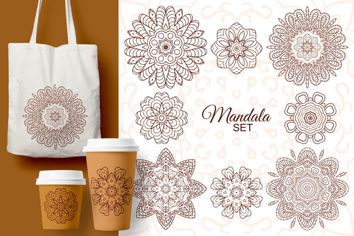 Mandala set. Doodle drawing, ethnic motifs
