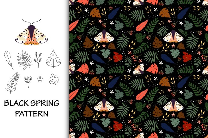 Seamless pattern black spring with moth