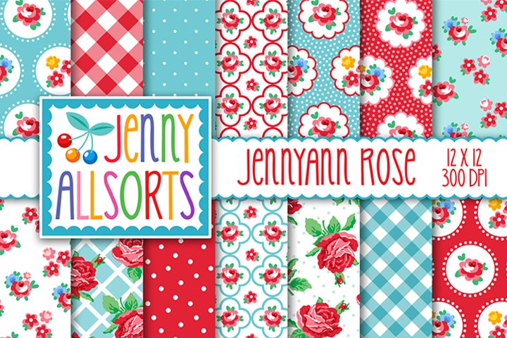 Shabby Chic Rose Papers - Pink Red & Aqua - Jennyann Rose