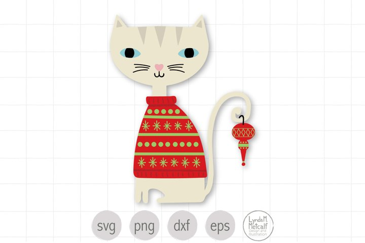 Christmas Cat SVG Cut File for Cricut, Holiday Cat SVG