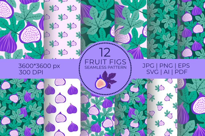 Figs fruits Digital Papers png, seamless pattern MEGA-bundle