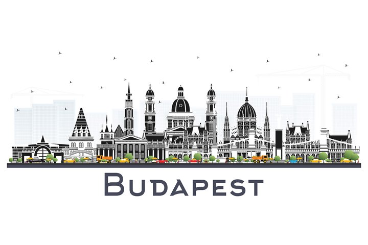 Budapest Hungary City Skyline with Gray Buildings.