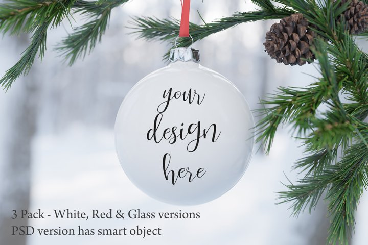 Christmas bauble ornament mockup - 3 versions included