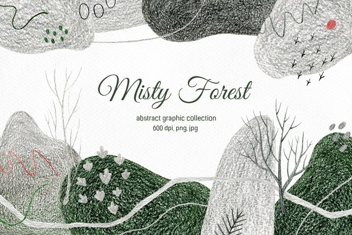 Misty Forest. Abstract graphic collection