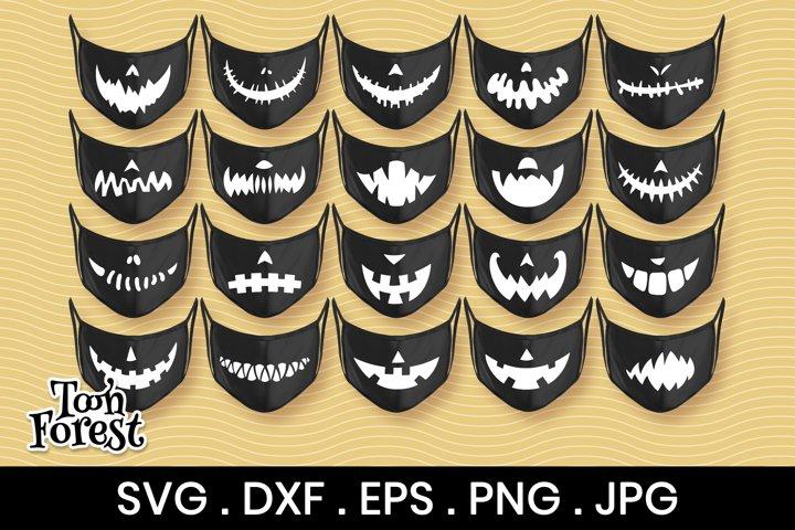 20 Pumpkin mouths silhouette SVG, DXF, EPS, PNG cut files
