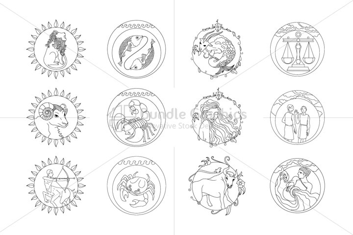 Illustrative Zodiac Signs - Iconic Set