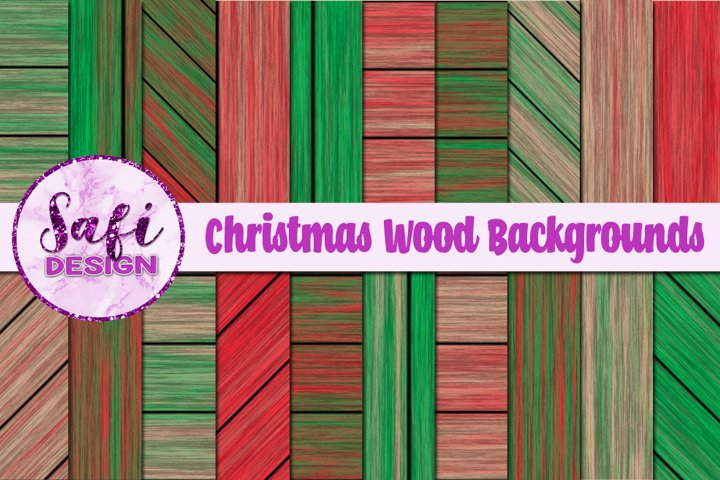 Christmas Wood Digital Papers Backgrounds