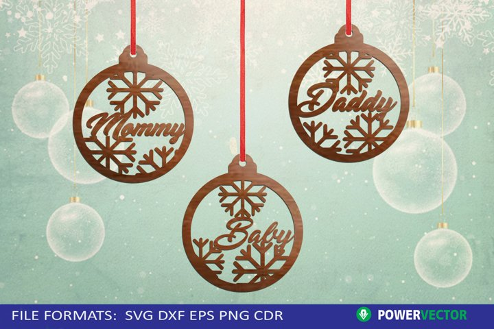 Christmas Bauble Ornaments Laser Cutting Patterns