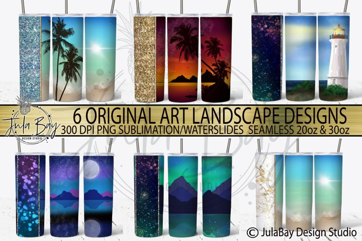 Skinny Tumbler BUNDLE Beach Ocean Mountain Sublimation PNG