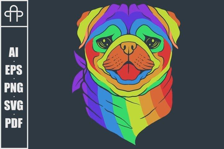 Pug dog head colorful vector illustration