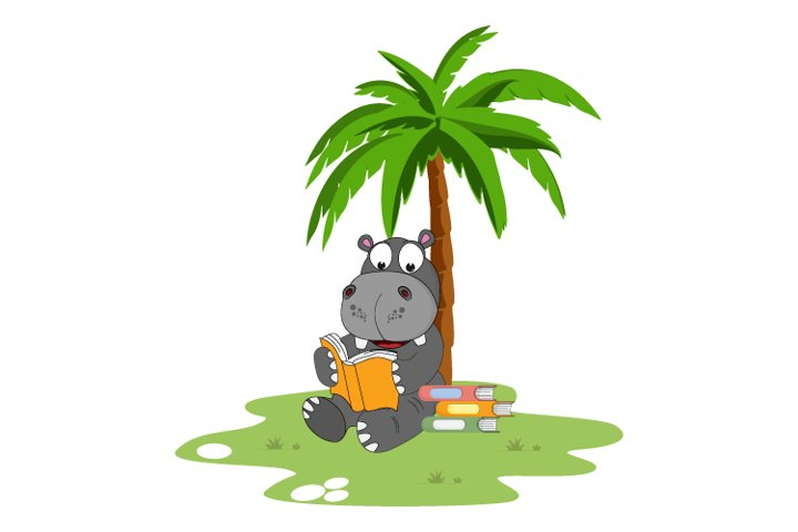 cute Hippo reading a book, simple vector illustration