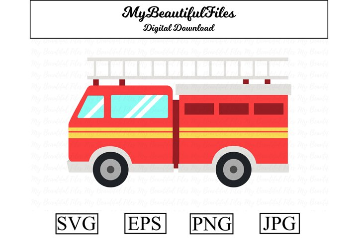 Fire Engine SVG - Cartoon Fire Engine SVG, EPS, PNG and JPG