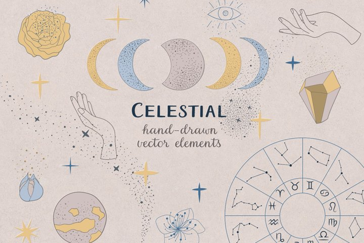 Celestial / Zodiac / Moon / Vector / Clip art