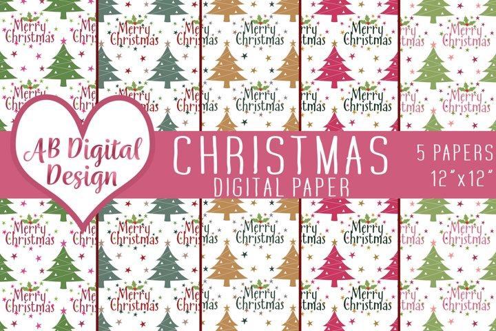 Christmas Digital Paper Backgrounds, Merry Christmas