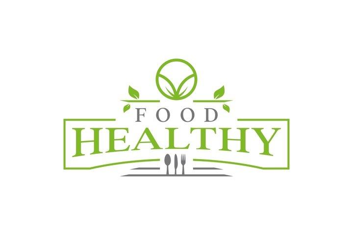 healty food logo design vintage vector