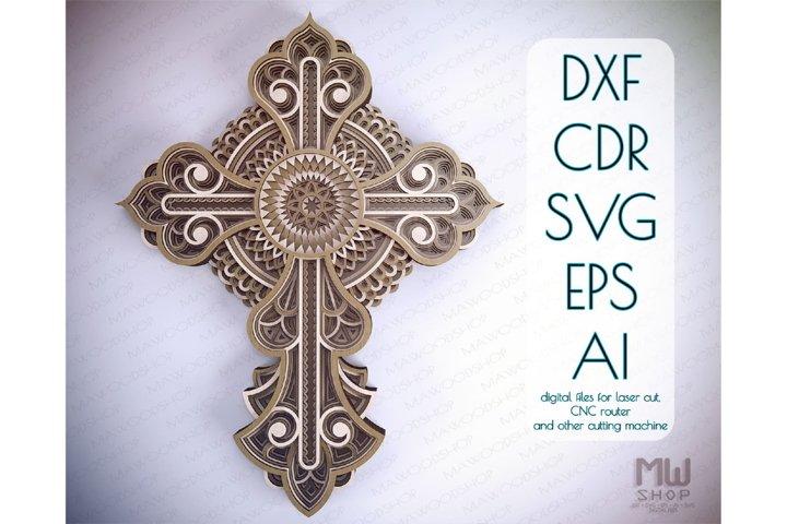 Cr22 - Multilayer Cross, Laser cut Cross, Cricut Cross SVG