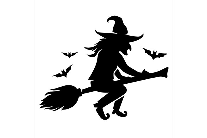 an evil witch flies on a broomstick with bats.