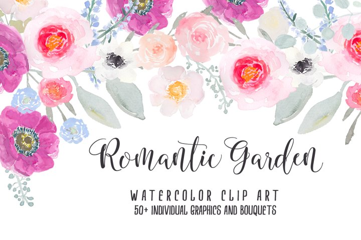 Romantic Garden Flower Watercolor Clipart