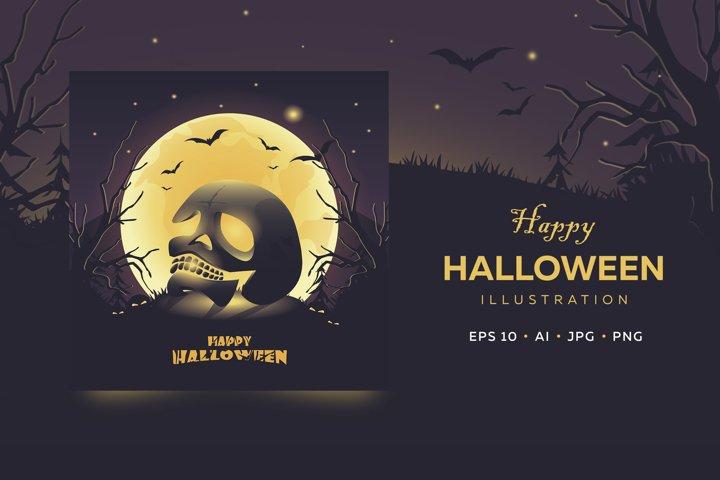 Happy Halloween card. Glowing skull a full moon