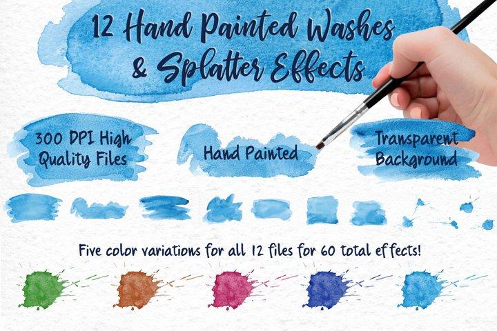 Sky Wonder, Watercolor Clip Art Set! Patterns, Backgrounds! example 3