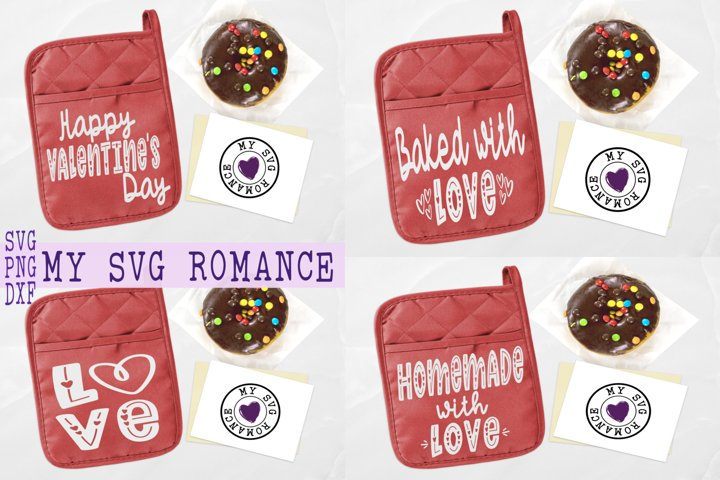 Valentines Day Pot Holder Bundle SVG DXF PNG 6 Designs
