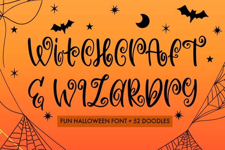 Witchcraft and Wizardry A Fun Halloween Font With Doodles
