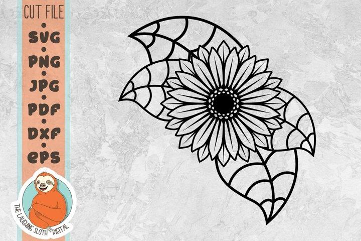 Sunflower with Leaves SVG - Flower SVG