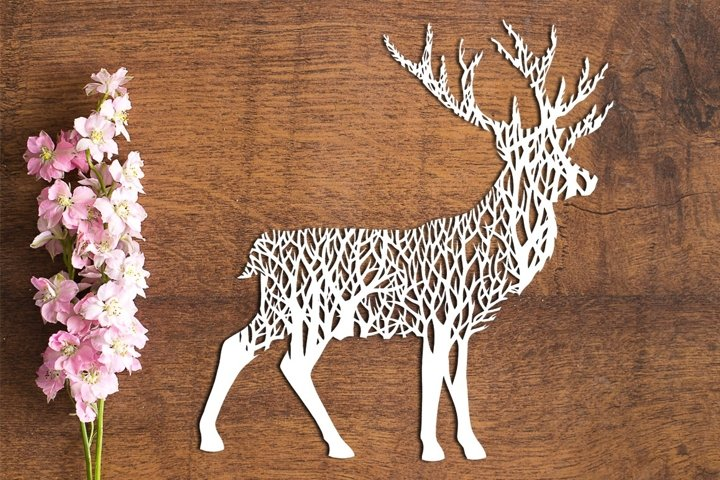 Forest Stag - PDF Template for Paper Cutting by hand