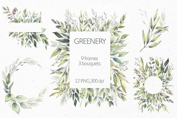 Watercolor Greenery Wreath Clipart.